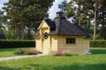 BBQ Hut 9.2 m with 2.5 m Sauna Extension