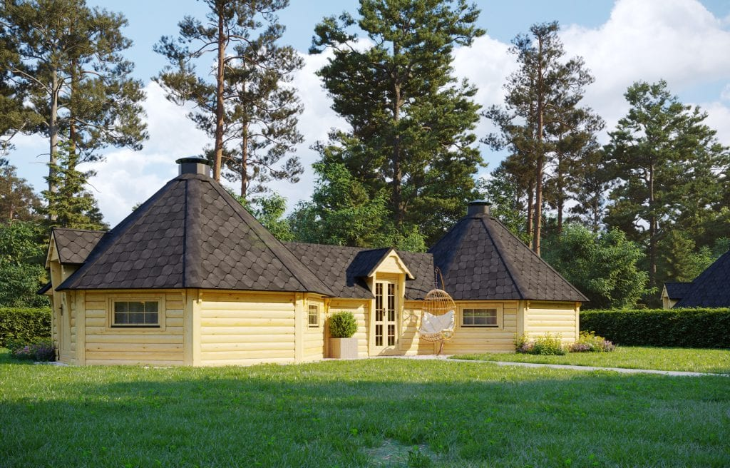 Double BBQ Hut 16.5m2 with corridor – Meadow