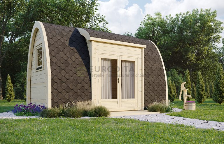 Insulated Camping Pod side entrance [2.4×4.8m] Open Plan