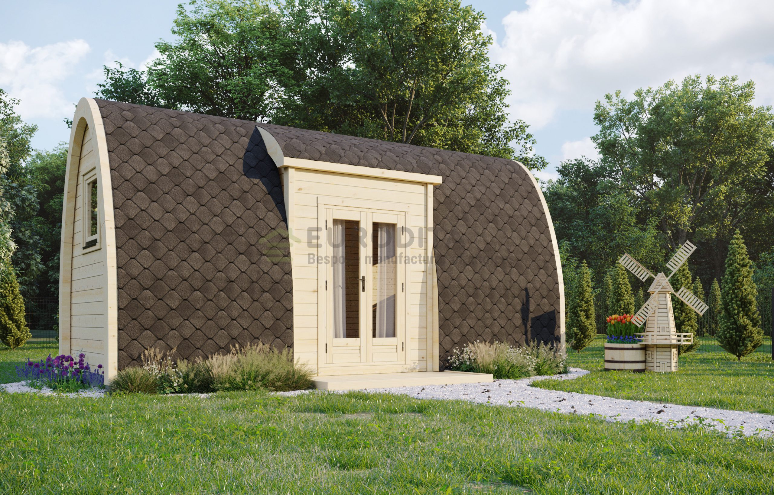 Insulated Camping Pod side entrance [2.4×6.0m] Open Plan
