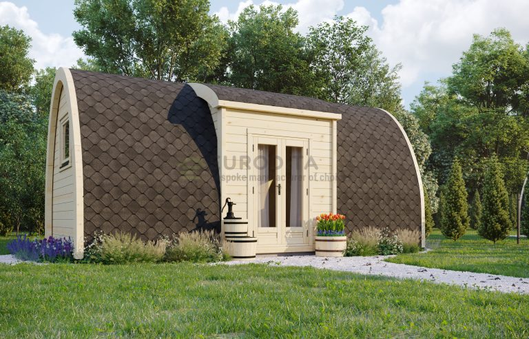 Insulated Camping Pod side entrance [2.4×6.6m] Open Plan