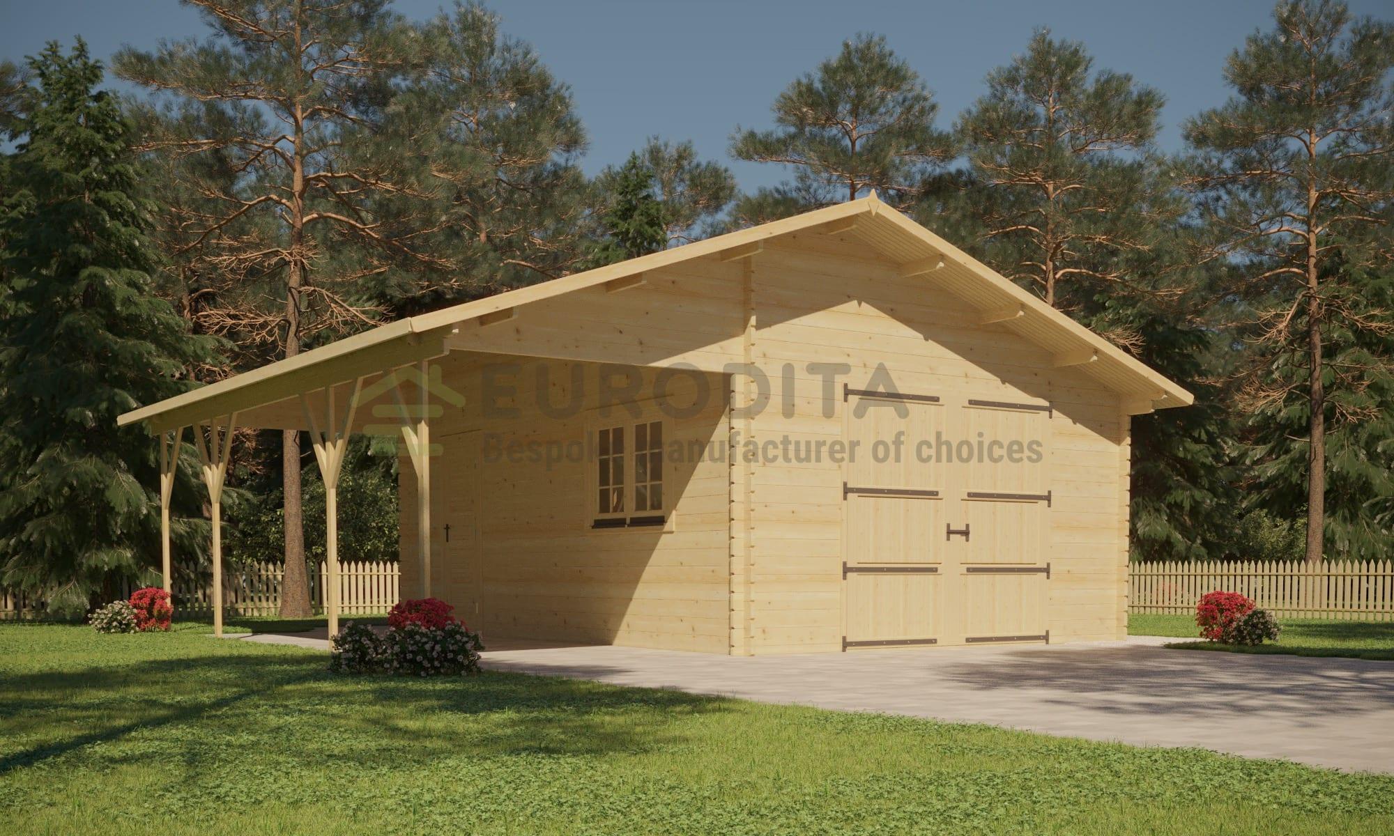 Log Garage Cabin [6.61×5.36m]