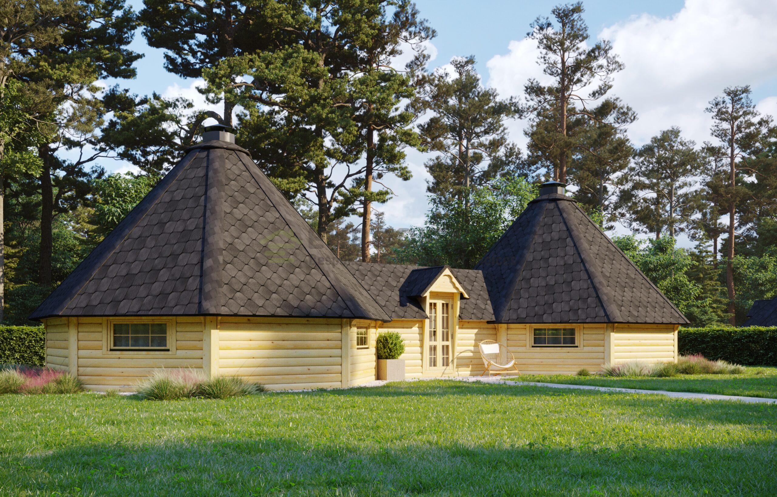 Twin BBQ Hut 25 m2 with 3 m corridor