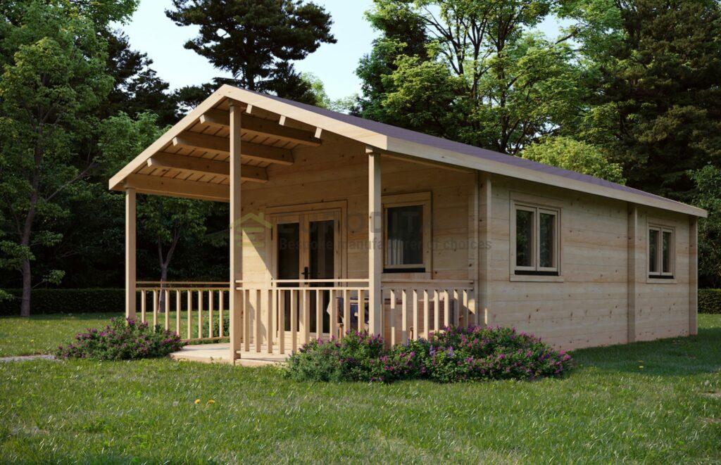 Cabane en bois rond lamellé-collé sur mesure - L'été
