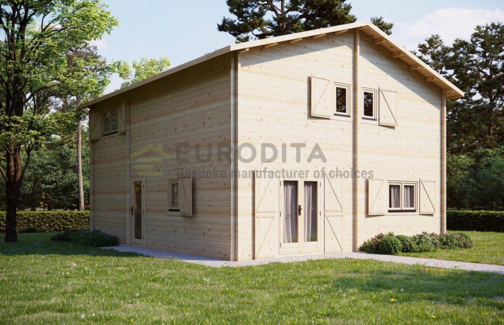 Eurodita Casa de troncos de dos pisos Nicolas, 70mm